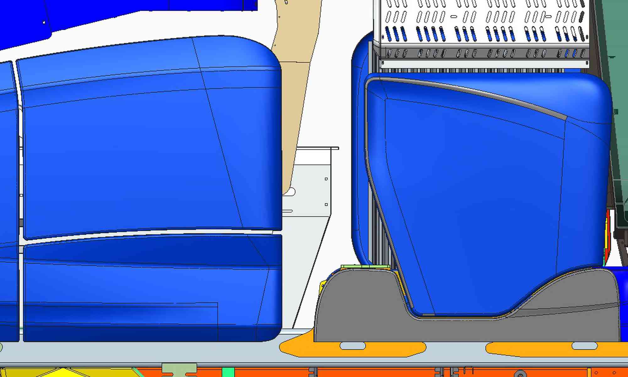 Engine hood, cooling system and chin skirt under cab