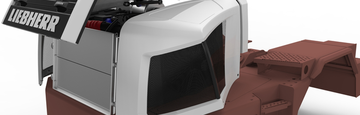 Engine hood for articulated truck